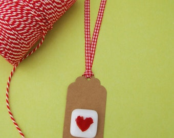 Handmade Fused White & Red Glass Heart Keepsake Gift Tag by Jessica Irena Smith