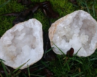 Blessed White Calcite Geode Pair