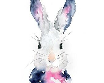 Bunny Watercolor Art Print: Rabbit Wall Art / Rabbit Watercolor Painting / Modern Pet Watercolor Art Portrait / Modern Bunny Wall Decor