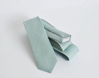 Serenity blue linen skinny tie, mens neck tie, linen tie, wedding tie, groomsmen tie, wedding tie, serenity blue tie, boyfriend gift