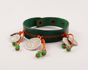 Leather Charm Bracelet, Coin Charm Bracelet, Leather Charm Bracele, Turkish Devil Eye Charms Cuff, gift for her, pine green bracelet