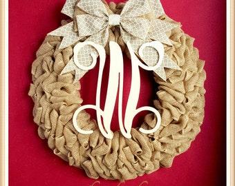 Thanksgiving Wreath-Fall Wreath-Monogram Fall Wreath-Front Door Fall Wreath-Rustic Wreath-Fall Initial Wreath-Christmas Wreath-Burlap Decor