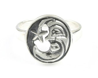 Mystic Luna Ring, Sterling Silver Moon Ring, 925, Star Ring, Cosmic, Boho, Gypsy, Wicca, Festival Jewelry, Hippie Jewelry, Spiritual