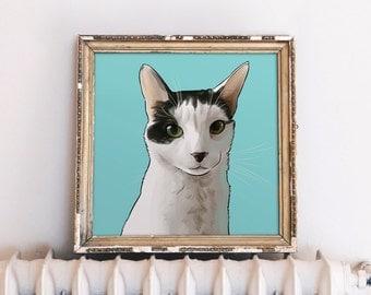 Cat Art Custom, Cat Portrait, Crazy Cat Lady, Personalized Gift for Cat Lover, Cat Lover Gift, Cat Illustration Custom