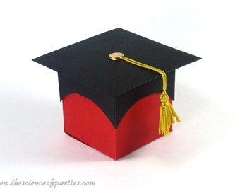 Red graduation favor boxes; Graduation box, Gold tassel, Graduation cap
