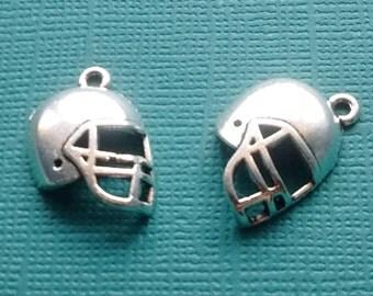 10 Football Helmet Charms Silver - CS2430