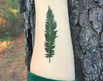 Green Fern Leaf Temporary Tattoo, Forest Leaves, Nature Tattoo