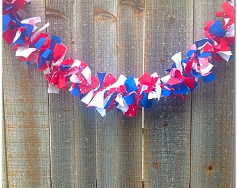 Patriotic Fabric Garland, Red White and Blue Garland, 4th of July Garland, 4th of July Fabric Swag, Summer Banners, Summer Decor