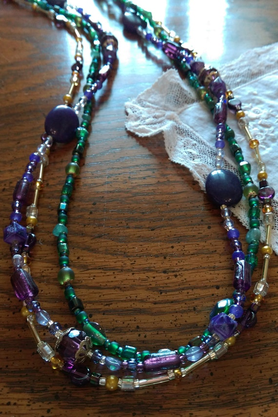 Lsu necklace mardi gras necklace canal street layerd for Adler s jewelry canal street