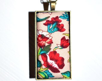 Red Flower Fabric Pendant Necklace