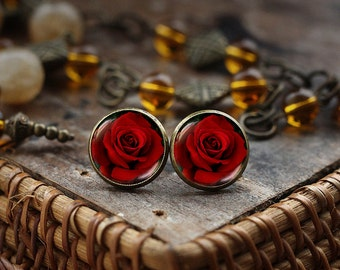 Red Rose Stud Earrings, Blooming Rose Earrings, Flower Rose Photo Earrings, Dark Rose Earrings, Gothic Rose Earrings