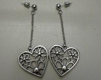 Earrings with heart pendant