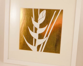 Floral Heliconia Foil Print