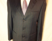 Apsley Tailors bespoke vintage 1990's 2 piece Grey with blue and tan pinstripe suit with 2 pairs of trousers in excellent condition