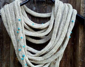 Unique Linen Necklace handmade scarf gray knit linen natural necklace linen jewelry beaded necklace fashion accessories unique gift for her
