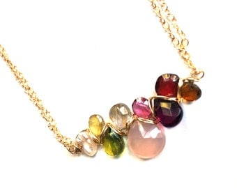 Tourmaline Necklace--Tundra Sapphire Necklace--Rhodolite Garnet Necklace--Pink Tourmaline, Green Tourmaline and Tundra Sapphire Necklace
