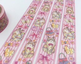 Cat washi masking tape 5M Cute cat tape pussy cat baby cat fat cat sticker tape pink tape cat planner diary scrapbook meow meow gift