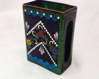 Cloisonne Matchbox Holder with Mica, Floral Designs with Mica, Enamel, Free Shipping