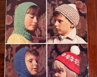 Vintage knitting pattern by Robin no 1600 for a selection of children's hats, to fit age 6-14 years