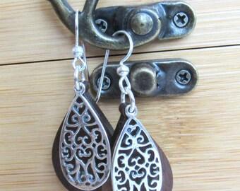Teardrop Filigree Sterling Silver Earrings, 5th Anniversary, Silver and Walnut Dangle Earrings, Bridesmaids  Earrings, Handmade Earrings