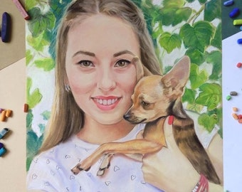 Custom Portrait from Photo Portrait Painting Drawing Original handmade gift / present