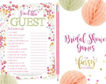 Find the Guest Bridal Shower Games, Shower Game, Bridal Shower, Instant Download, Printable Shower Games, Printable Instant Download Games