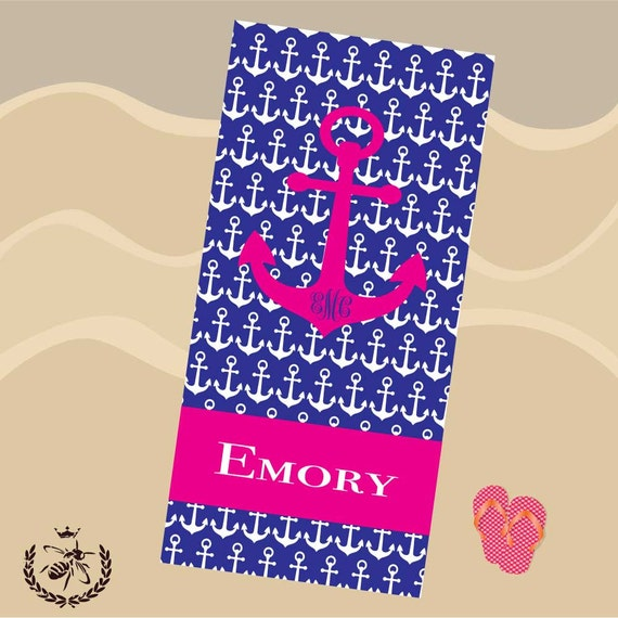 Personalized Beach Towel For Toddler: Anchor Beach Towel Personalized Monogrammed By