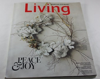 Martha Stewart Living Magazine Christmas December 2012 Craft Instructions How To's Cooking Recipes Decorating Collectors Item Peace and Joy