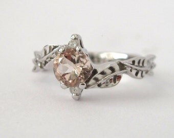 Morganite Leaf Engagement Ring, Leaf Engagement Ring, Peach Pink Morganite, Leaves Ring, Natural Floral Engagement Ring, Three Stone Leaf