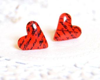 Red Heart Earrings • Studs Cute Romantic jewelry • Bridesmaid earrings • Tiny Heart earring • Petite wedding earrings Valentine's day Gift