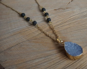 Essential Oil Diffusing Necklace with Lilac Druzy and Black Lava Beads