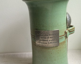 Reproduction Pewter and Stoneware Coffee Canister signed by Crosby & Taylor