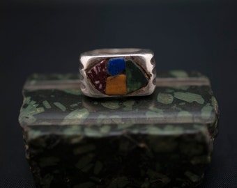 silver ring // Roman marbles // ancient design // hand made