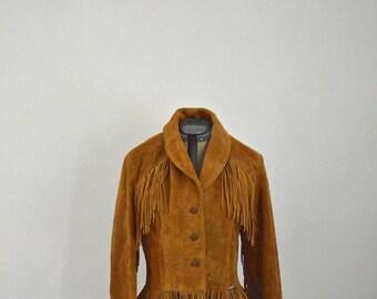 Suede Fringe Western Jacket by Schott, Size 12/14, Cowgirl Jacket, Southwestern, Rockabilly