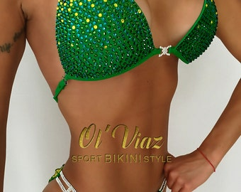 Green&Blue Supplex Bikini Suit with Crystals/Competition Suit/Posing Suit/Rhinestone Fitness