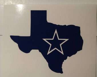 Cowboys Football State Decal - permanent vinyl - perfect for Yeti & Rtic cups, coolers, windows, etc. Decal only. Take it tail gating!