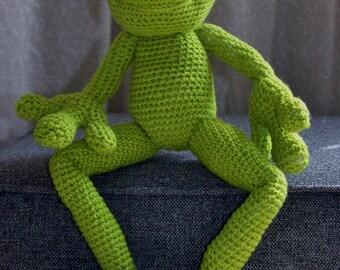 Filip the Frog amigurumi type crocheted soft toy