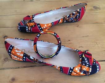 Ballerinas in African fabric (size 40)