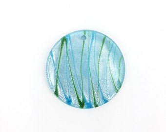 42mm Fused Glass Pendant Light Blue with Green Stripe, Round Glass Pendant, Handmade Necklace Pendant, Silver Foil, Big Chunky