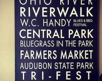 Henderson Kentucky Custom Subway Sign Canvas Art/Subway Art/Subway Art/City Art