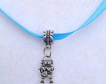 10 - Pcs Robot Charms necklaces party favors.