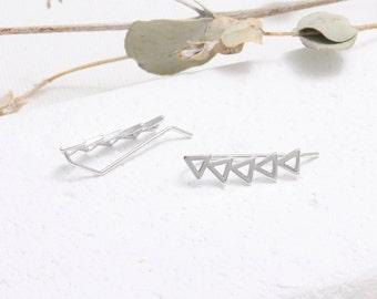 Open Triangle Ear Climbers, Arrows Ear Crawlers-1pair