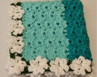 Ombre Crochet Baby Lovey with Flowers, Baby Security Blanket, Comfort Blanket, **Ready to Ship**