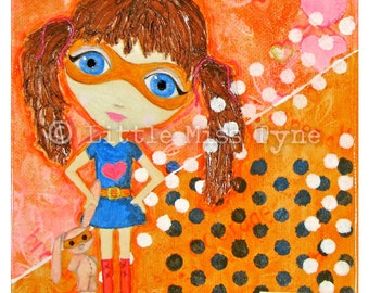 """Be You Bravely - Mixed Media Painting Original Canvas Art Decor - 6""""x6"""""""