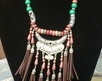 Tassel charms necklace, Brown green Boho style necklace, Fantasy Ibiza style  Gypsy collier,