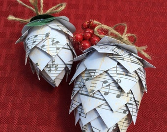 Handcrafted Music Paper Pinecone Ornament
