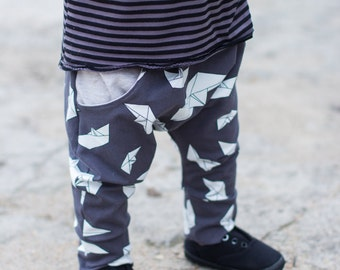 Harem pants Baby harem pants Harem pants Baby boy clothes Origami ship print Hipster baby pants Unisex harem pants Toddler pants with pocket