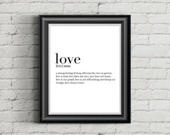Love Definition Print, Wall Art, Wall Print, Black and White Print, 8x10 Print, 11x14 Print