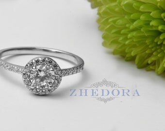 Halo Engagement Ring With Accents 1.5 CT Round Wedding Ring Sterling Silver, Nickel Free Ring Bridal Ring 0ZGMR00050RH