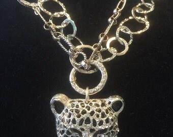 Jaguar/Cougar Multi Strand Necklace with Rhinestones